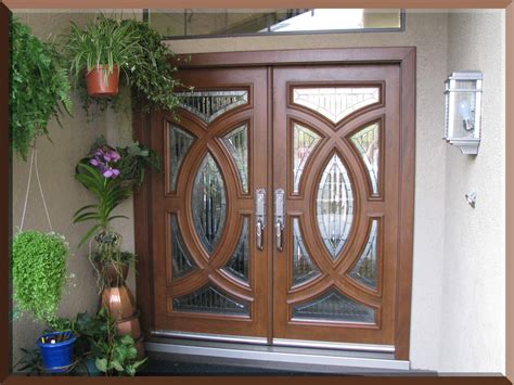 Custom Size Exterior Double Fiberglass Doors With Oak Hanging An Exterior Door