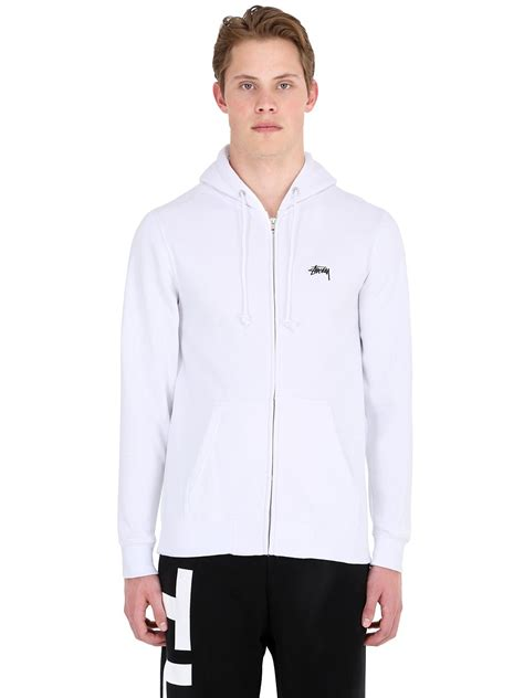 Zipper Hoodie Sweater Stussy 3 Jersey Jersey stussy hooded zip up cotton blend sweatshirt in white for