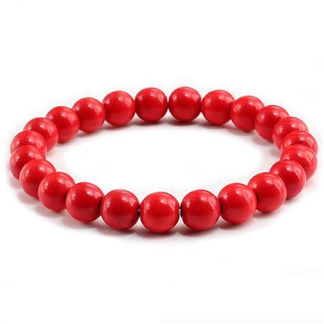 trendy red beaded bracelets  women natural stone