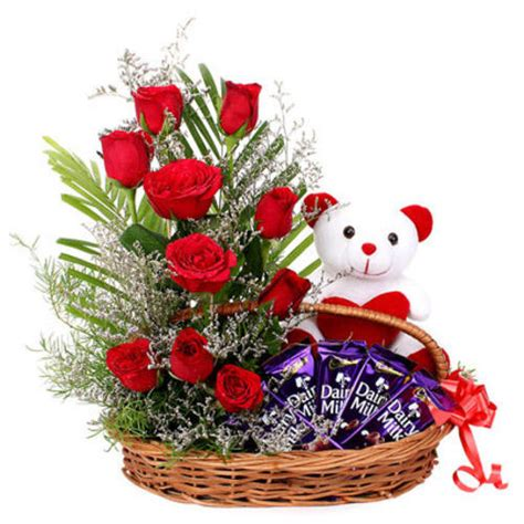 new year flower basket 01 beautiful basket arrangement of 10 roses with teddy