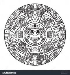 Aztec Calendar Stylized Aztec Calendar Raster Version Stock Photo