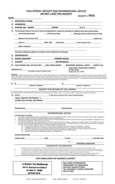 Title Bail Bond Receipt Template