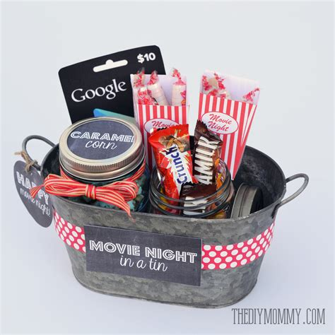 xmas raffle ideas a gift in a tin movie night in a tin the diy mommy
