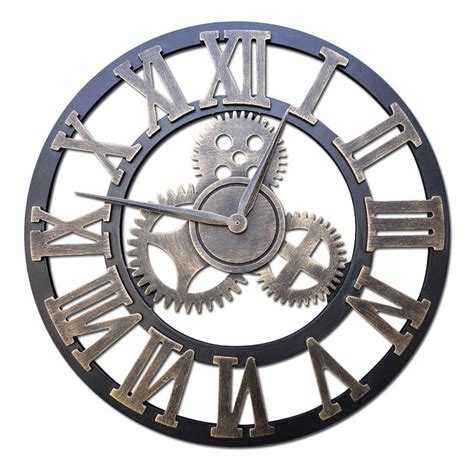2016 handmade 3d gear wall clock retro gear large vintage wall clock wooden numbers