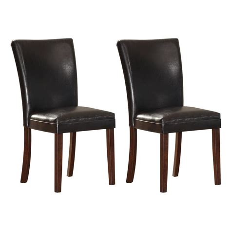 Vinyl Dining Chair Homesullivan Black Brown Vinyl Dining Chairs Set Of 2 403276s 2pc The Home Depot