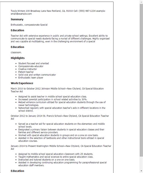 Special Education Resume by Special Education Aide Resume Template Best