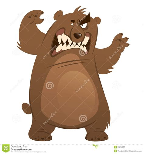 angry funny cartoon brown grizzly bear making attacking gest stock vector image 39814277