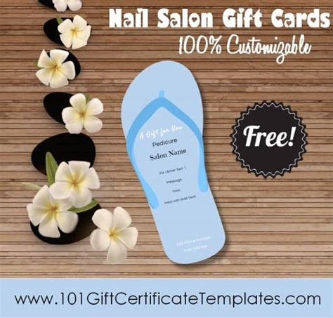 pedicure gift card template nail salon gift certificates free nail salon gift