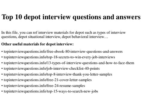 top 10 depot questions and answers
