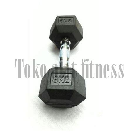 Dumbell Fix Rubber 5kg dumbell rubber hex 8kg toko alat fitness