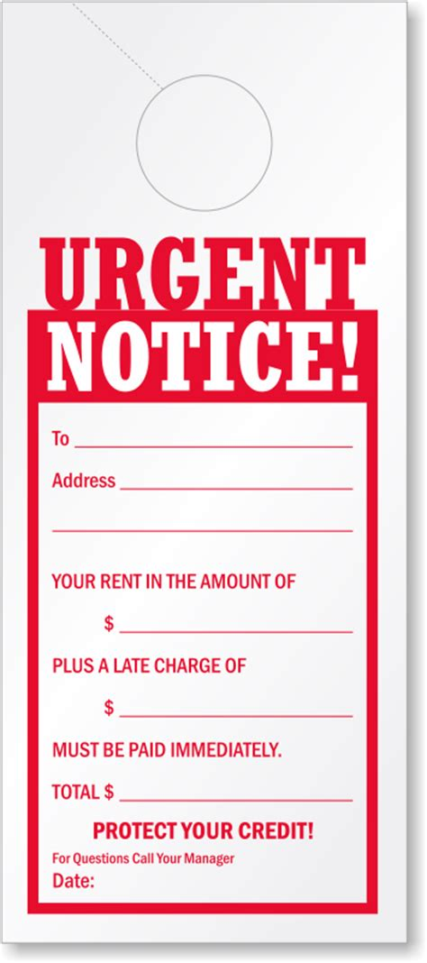 Urgent Payment Reminder Letter Late Rent Payment Reminder Urgent Notice Door Hanger Signs Sku Tg 0989