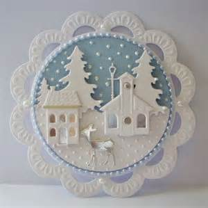 beautiful pearlescent winter scene die cut card topper