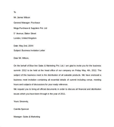 10 Business Invitation Letter Templates Pdf Word Sle Templates Invitation Letter Template