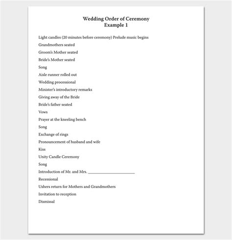 Wedding Ceremony Outline by Wedding Outline Template 13 For Word And Pdf Format
