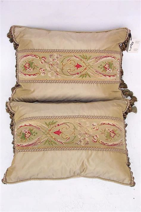 Pillows For Sale by Antique Needlepoint Tapestries Placed Onto Pillows For