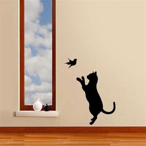 wall decorative painting cat bird stencil cat decor cat wall stencil painting