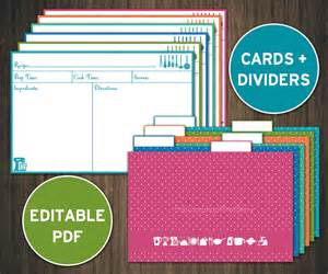 4x6 Index Card Template by Editable Recipe Cards Divider 4x6 Recipe Cards Printable