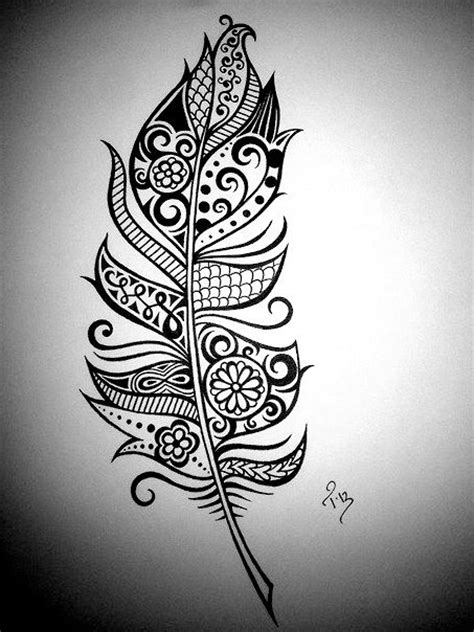 ink pattern black and white feather art henna feather drawing custom ink drawing