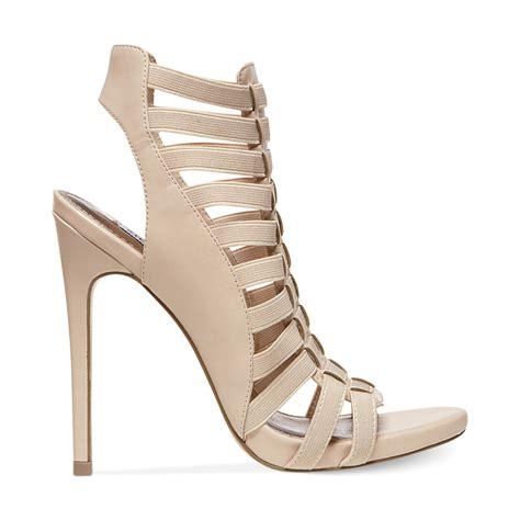 caged sandal steve madden stretche caged sandals in beige blush multi