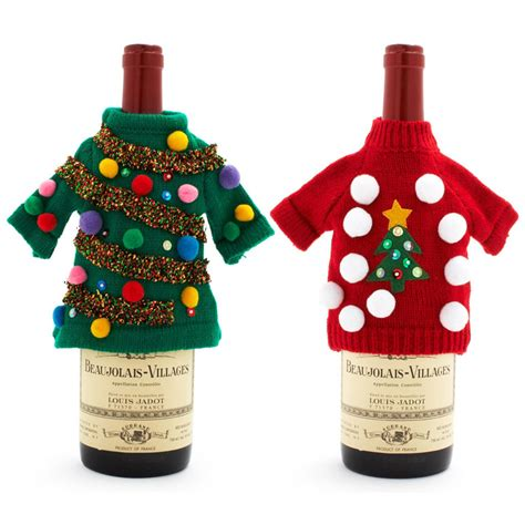 ugly christmas sweater wine bottle covers the green head