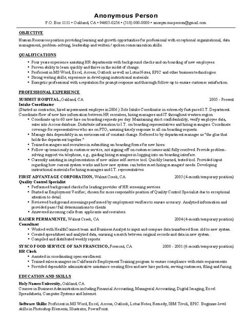 sample resume objective statements hr resume objective