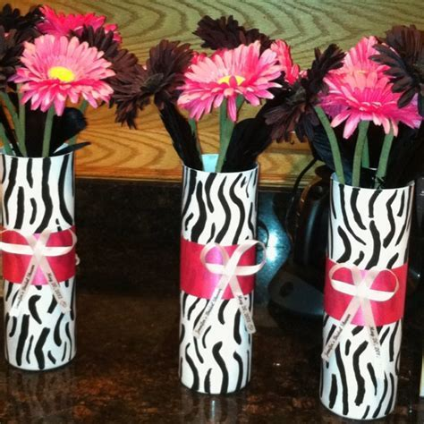 Zebra print n hot pink bridal shower centerpieces.   My
