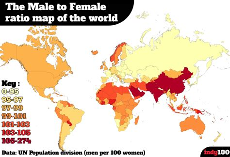 ratio of men to women in the united states a map of the countries where women outnumber men indy100