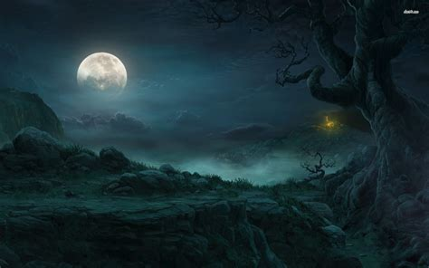 themes in a house in the sky 3032 dark forest moon wallpaper design walops com