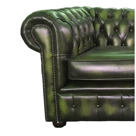 real leather chesterfield chesterfield antique green genuine leather two seater sofa bed