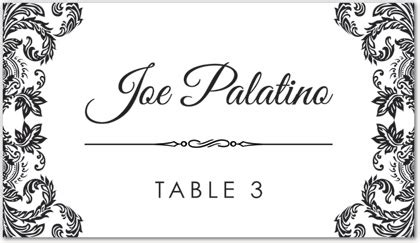 place card template border black damask corners place card template