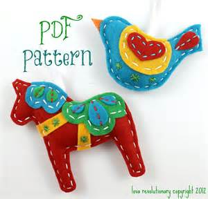 pdf pattern felt dala horse swedish bird xmas ornament