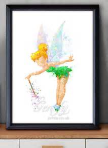 Tinkerbell Home Decor Disney Tinkerbell Fairy Watercolor Art Poster Print Wall