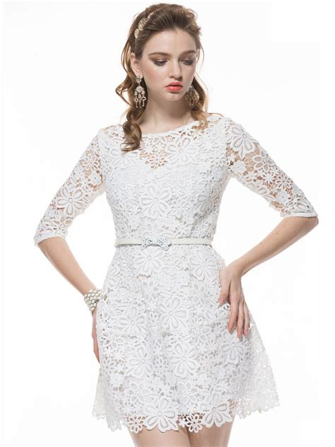 20238 White Half Lace Sleeve best white crochet lace half sleeve dress with belt thanks