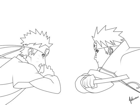 pain naruto coloring pages naruto vs pain lineart by nelsonaof on deviantart