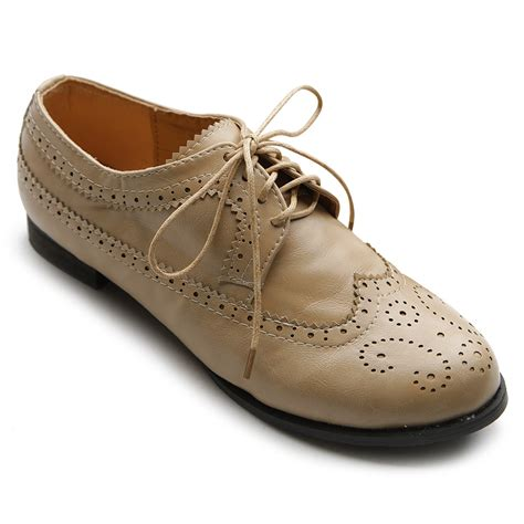 ollio womens oxfords lace ups low heels wingtip dress