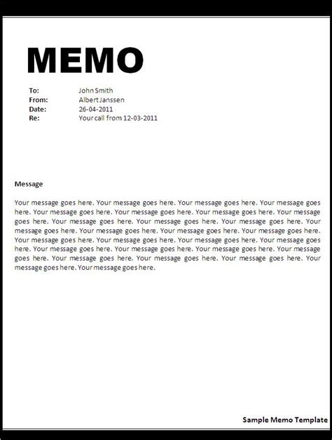 Free Memo Template by Memo Template Word
