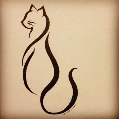 cat tattoo line work elegant cat tattoo tattoos pinterest design