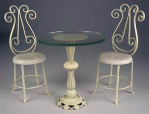 Glass Bistro Table And 2 Chairs J Getzan Dollhouse Miniatures Wrought Iron Tables Dollhouse Bistro Tables Dessert Tables