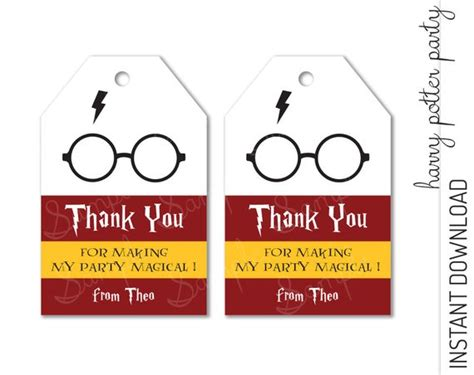 harry potter thank you card template harry potter favor tag harry potter thank you tag harry