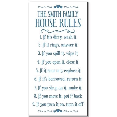 family house rules framed print house rules framed print