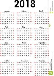 Kalender 2018 Pdf Zum Bearbeiten Calendario 2018 Ilustraci 243 N Vector Imagen De