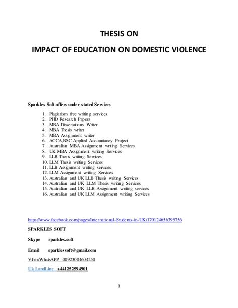 domestic violence dissertation impact of education on domestic violence