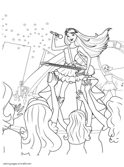 coloring pages for barbie princess and the popstar barbie princess and popstar coloring page