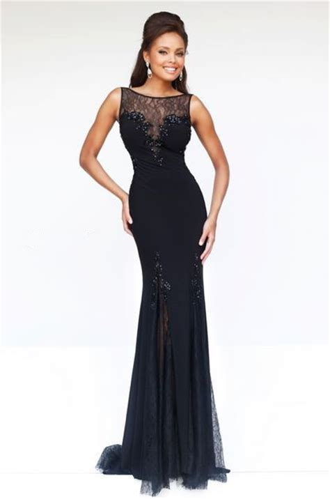 black beaded prom dress sheath illusion neckline black chiffon lace beaded