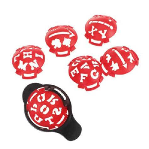 1 X Golf Ball Marker Base With Different Templates Red And Black T2t7 Ebay Golf Marker Template