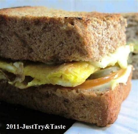 Pemanggang Roti Tangkup resep sandwich roti gandum isi telur dadar just try taste