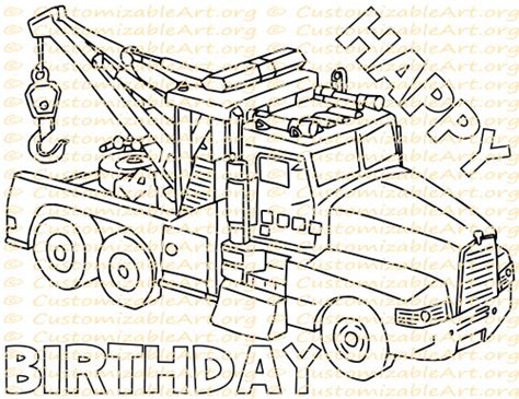 happy birthday tractor coloring pages tow truck party favor printable truck birthday party