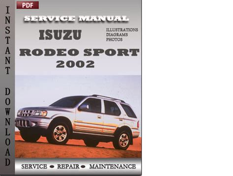 isuzu rodeo 2001 2002 factory service manual car service manuals isuzu repair manual archives pligg