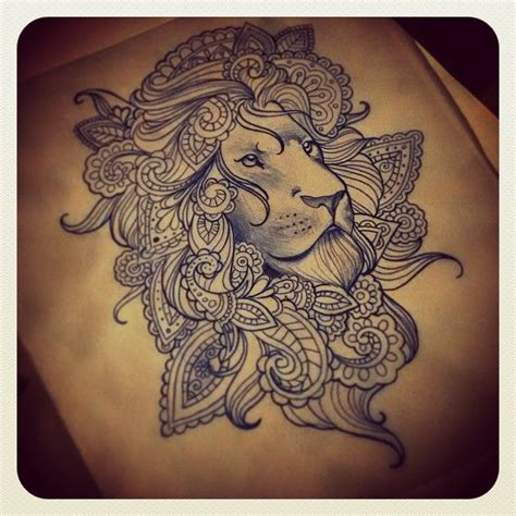 indian lion tattoo mandala design pictures to pin on