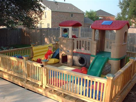 kids backyard store play area built on a deck don t have to worry about